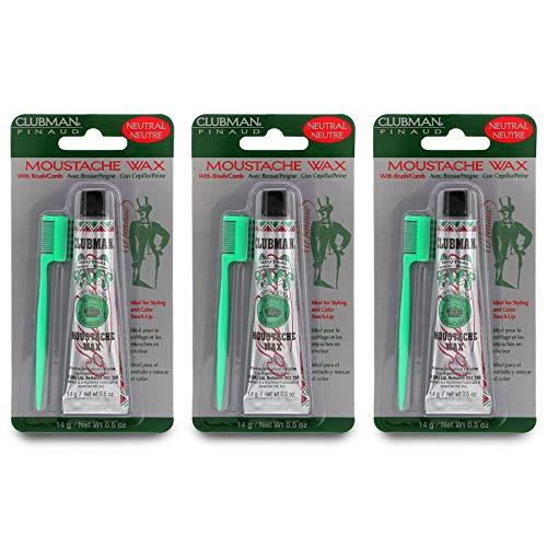 Clubman Moustache Wax Hang Pack, Neutral Color 0.5 oz x 3 packs