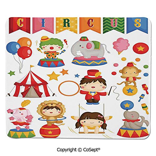 (Quality Selection Comfortable Mouse Pad,Carnival Circus Happy Children Girl Boy Hat Cotton Candy Stars Swing Lion Decorative,Non-Slip Water-Resistant Rubber Base Cloth Computer Mouse Mat (7.87