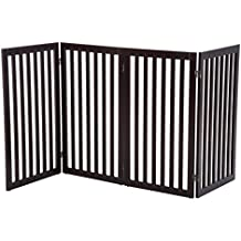 "Pawhut 36"" x 80"" 4 Panel Folding Wooden Indoor Freestanding Pet Safety Gate for Dogs (Rich Espresso)"
