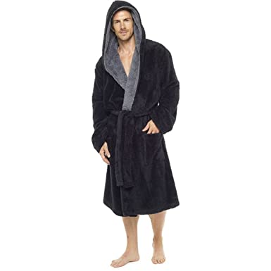 Mens Luxury Super Soft Fleece Dressing Gown Bath Robe Hooded Thick