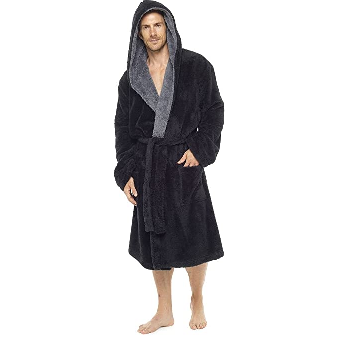9c3bfa48cbe Mens Luxury Super Soft Fleece Dressing Gown Bath Robe Hooded Thick Warm  Snuggle  Amazon.co.uk  Clothing
