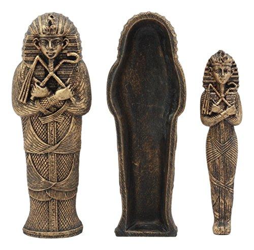 (Ebros Bronze Finish Small Ancient Egyptian Pharaoh King Tut Sarcophagus With Mummy Insert Artifact Relic Statue 5.5