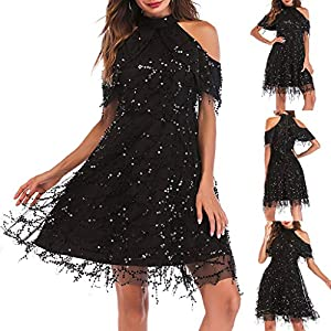 Hapae Womens Flapper Dress Fringed Dress Fancy Dress Off Shoulder Party Costum Sexy Evening Mini Dress Sequin Shinning Women's Wedding Dress