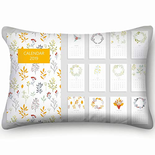 best bags Printable Calendar 2019 Beautiful Botanical The Arts Skin Cool Super Soft and Luxury Pillow Cases Covers Sofa Bed Throw Pillow Cover with Envelope Closure 1624 Inch