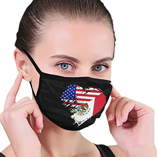 Mexico American Heart Flag Mouth Mask,Dust-Proof Face Masks for Women Men,Washable and Reusable Black