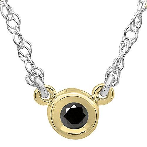 Dazzlingrock Collection 0.33 Carat (ctw) 14K Round Black Diamond Ladies Bezel Set Solitaire Pendant 1/3 CT, Yellow Gold