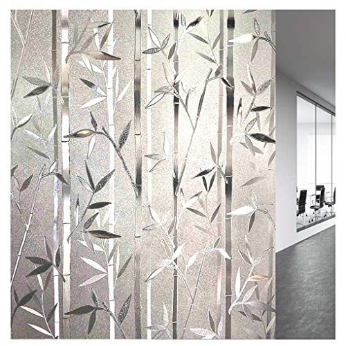 LEMON CLOUD 3D No Glue Static Decorative Privacy Window Films Bamboo Pattern 35.4 in. by 78.7In(90cm x 200cm) ()