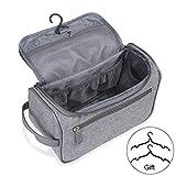 Travel Toiletry Bag Organizer, Jiemei Hanging Wash Bag Shaving Dopp Kit for Men Women, 2 Pack Portable Coat Hangers as GIFT(Grey)