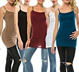 Nolabel Various Color 2~5 Pack Women's Basic Long Length Adjustable Spaghetti strap Cami Tank Top Plus Size (S~3XL)