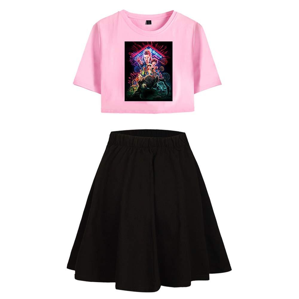 Stranger Things Sport Jupe Courte T-Shirt Set Fashion 2 Pi/èce /Ét/é Coton Crop Lombaire Fitness Tops Drame Am/éricain Stranger Things Costume