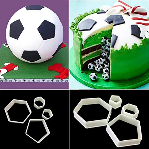 yanQxIzbiu 4Pcs Football Soccer Fondant Cutter Cookies Mold Cake Decorating -
