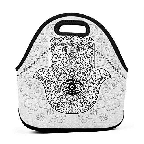 Large Size Reusable Lunch Handbag Hamsa,Divine Protection Magical Good Luck Charm on Gentle Floral Spring Backdrop, White Black Gray,sable lunch bag for men