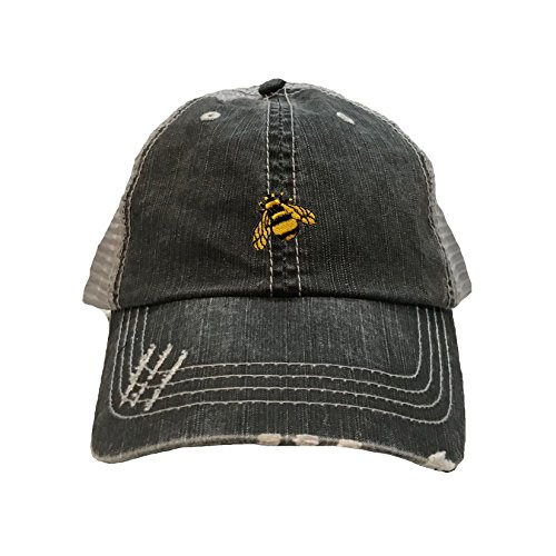 (Go All Out One Size Black/Grey Adult Bumble Bee Embroidered Distressed Trucker Cap )