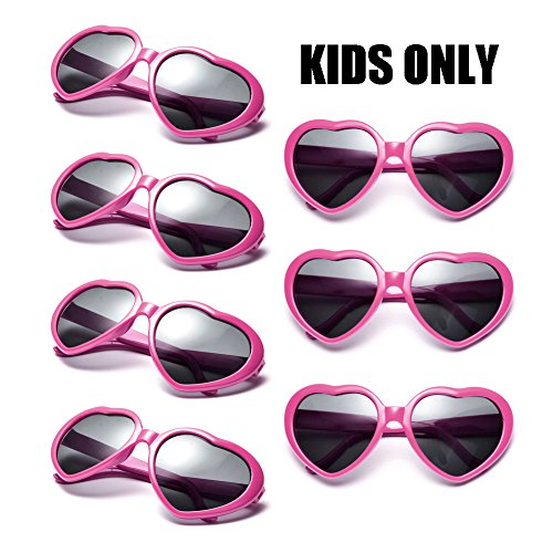 Neon Colors Party Favor Supplies Wholesale Heart Sunglasses for Kids (7 Pack Hot Pink)