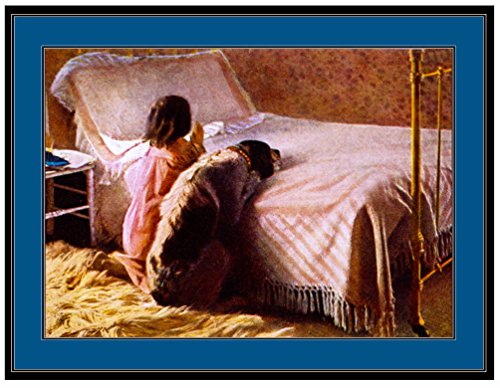 A SLICE IN TIME English Springer Spaniel Puppy Dog Puppies Dogs with Little Girl in bed Praying Prayers Vintage Art Picture Poster Print. Measures 10 x 13 inches.
