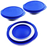 Alfie Pet by Petoga Couture - Set of 3 Ian Pet Expandable/Collapsible Travel Bowl with Lid - Size: 2.5 Cups, Color: Blue