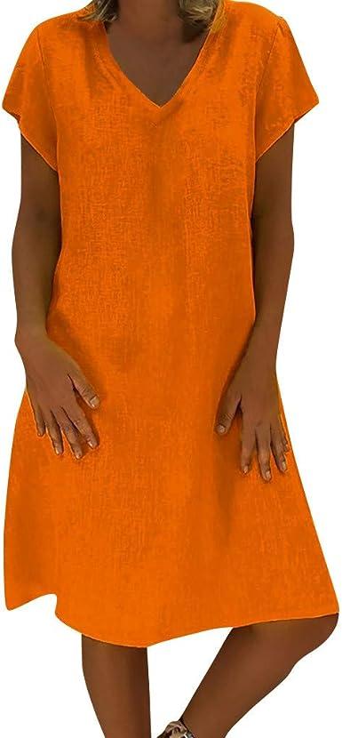 Damark(TM) vestidos mujer, Vestidos de algodón de Lino para Mujer Vestidos Cortos para Mujer Vestidos de Verano Vestido de Talla Grande Casual Vestido: Amazon ...