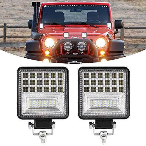 BUNKER INDUST 4 inch LED Light Pods, 2Pcs 126W Square Light Bar 15000LM Spot Flood Combo Fog Lights CREE LED Pods Off Road Driving Work Lights Waterproof for Truck Jeep Boat UTV ATV Marine