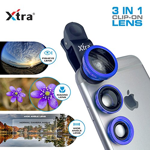 XTRA 3 in 1 Clip-On 180° Fisheye Lens + 0.67X Wide Angle + 10X Macro Camera Lens Kit for iPhone 7/7+/Se/6s/6/6 Plus, iPad, Samsung Galaxy S7/S6/Edge, Note 5/4, LG G5, Moto X/G, Nexus & Android Phones