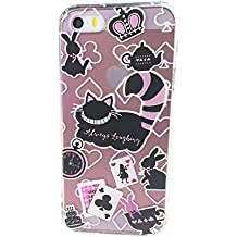iPhone 5 Case,iPhone 5s SE Case, Ftonglogy [Cartoons Design] Cheshire Cat 3D Slim Soft Print Flexible TPU Gel Case For iPhone SE iPhone 5/5S