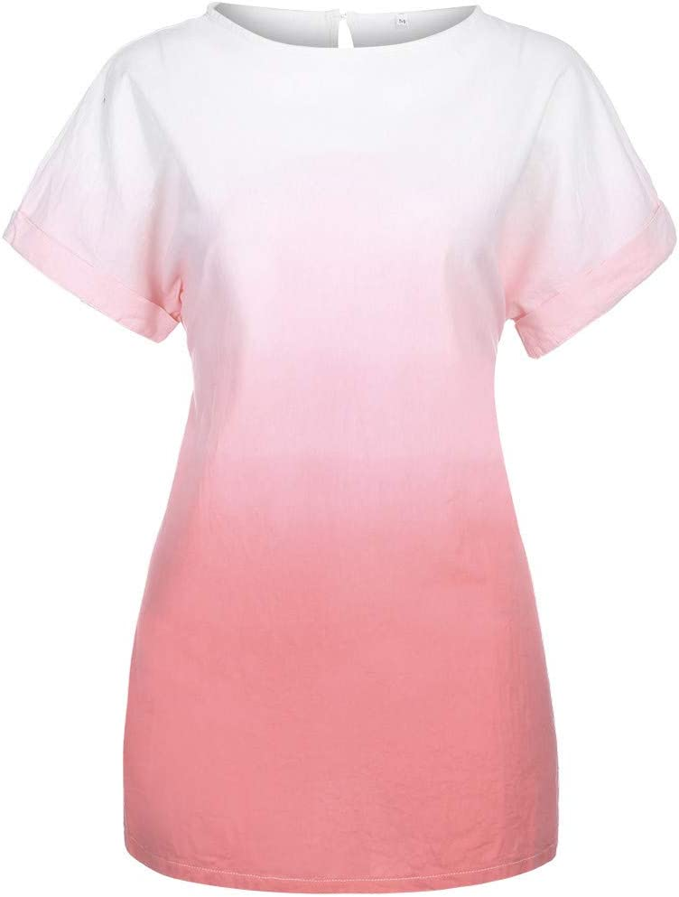 Vestido de algodón y Lino con gradiente de Tinte con Estampado de ...