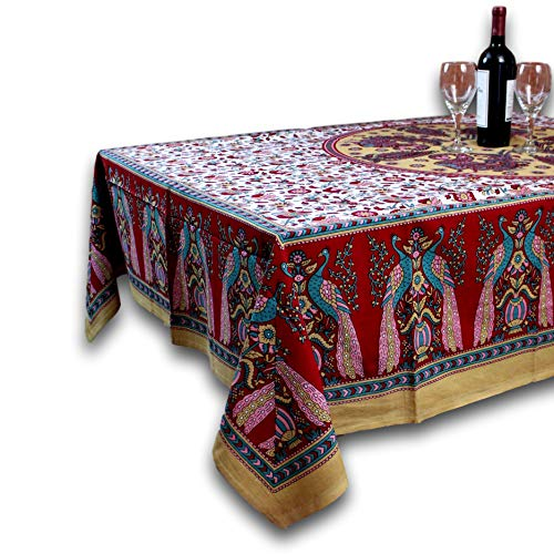 (India Arts Floral Peacock Tablecloth-Spread-Colorful Home Decor-Red-60 x)