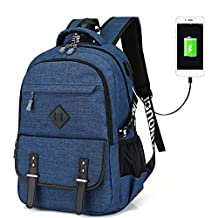 Waterproof Laptop Backpack Polyester Solid Notebook Bag with USB Charger for men&women (blue)