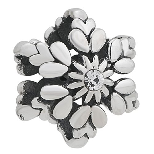 925 Sterling Silver Charms Sunflower in Snowflake Clear Cz Bead Fits European Charms