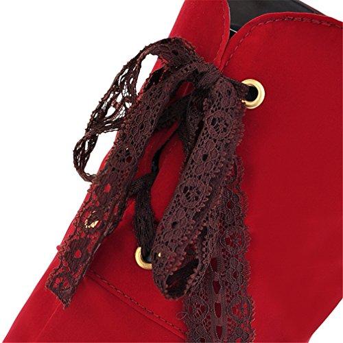 YE Damen Winter Wildleder Overknee Stiefel High Heels Plateau mit Schnürung Hinten Fell Warm Gefüttert 13cm Absatz Stiletto Boots Rot