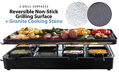 Milliard Raclette Grill for Eight People, Includes Granite Cooking Stone, Reversible Non-Stick Grilling Surface, 8 Paddles and Spatulas - Great for a Family Get Together or Party