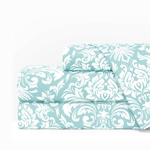 Egyptian Luxury 1600 Series Hotel Collection Damask Pattern Bed Sheet Set - Deep Pockets, Wrinkle and Fade Resistant, Hypoallergenic Sheet and Pillowcase Set - Queen - Aqua/White
