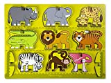 Melissa & Doug Safari Animals Wooden Chunky Puzzle and Stacking Toy With Storage Tray