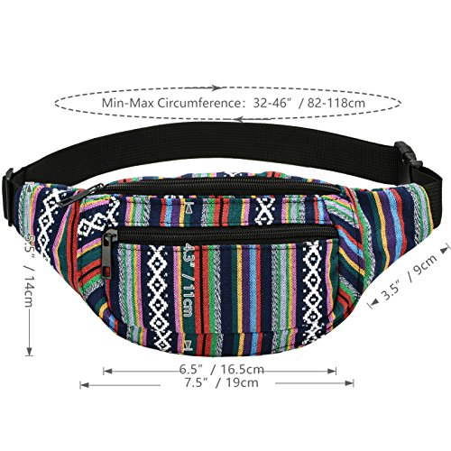 Kayhoma Boho Fanny Pack Stripe Festival Rave Bum Bags Travel Hiking Waist Belt Purse by Kayhoma (Image #4)