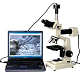 AmScope ME300TZA-9M Episcopic Trinocular Digital Metallurgical Microscope, WF10x and WF16x Eyepieces, 40X-1600X Magnification, 20W Halogen Illumination with Rheostat, Double-Layer Mechanical Stage, Sliding Head, High-Resolution Optics, Includes 9MP Camera