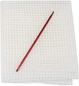 Yushen 20 x 20 inches Blank Rug Locker Hooking Mesh Canvas Kit with Latch Hook Tool Supplies Crafts