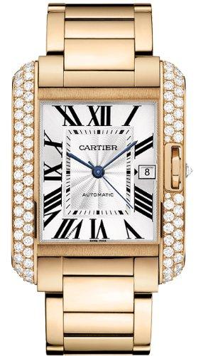 Cartier 18k Rose Gold & Diamond Tank Anglaise Men's Watch WT100004