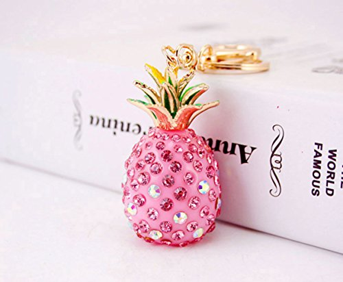 Cute Key Chain Shiny Crystal Pineapple Key Ring Mini Bag Decoration for Girls and Women(Pink) by leomoste (Image #6)