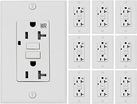 Esd Tech 20 Amp Gfci Outlet Wall Receptacle Pack Of 10 Tamper And Weather Resistant Decorator Duplex With Led Indicator Light Ul Listed And Wall Plate Included Amazon Com