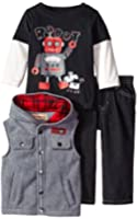 Kids Headquarters Baby Boys' Gray Fleece Vest with Tee and Pants