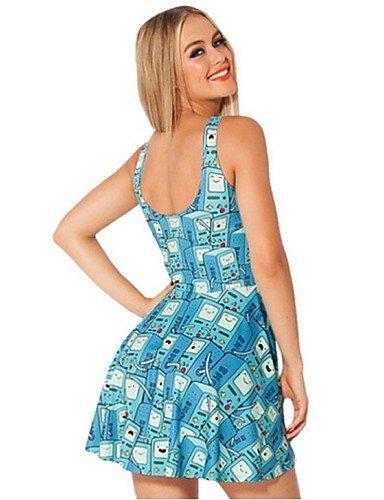 PU&PU Robe Aux femmes Gaine Street Chic,Imprimé U Profond Au dessus du genou Polyester , blue-one-size , blue-one-size