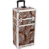 SUNRISE Makeup Case on Wheels I3562 2 in 1 Professional Artist, 3 Trays and 4 Drawers, Brush Holder, Locking with 2 Mirrors and Shoulder Strap, Brown Leopard