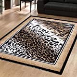 Large Modern Rug Animal Print Out Of Africa Serengetti Leopard 1.6m x 2.25m (5'3 x 7'3 Approx)