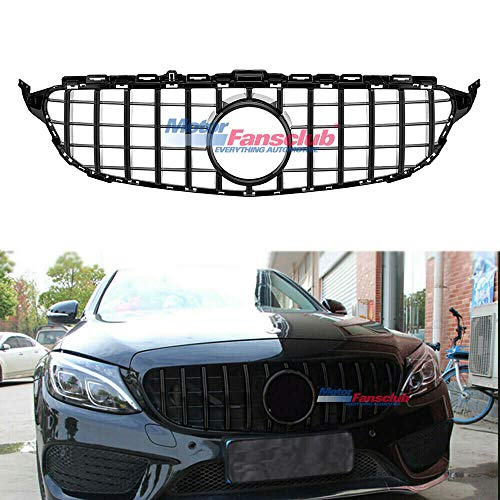 MOTORFANSCLUB Fit for Mercedes Benz C Class W205 2015-2018 AMG GT R Style Black Chrome Front Grill(Without Camera Hole)