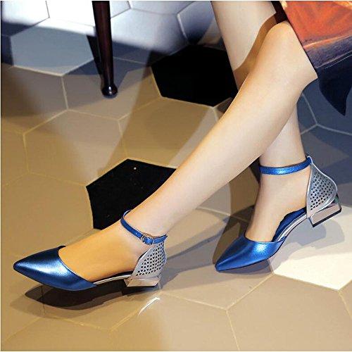 comode Punta Shoe Tacco a Dimensioni Scarpe e Donna Donna Colore Blu Cava Basso store Sandali da Eleganti 36 a Fibbie qIXrxX8