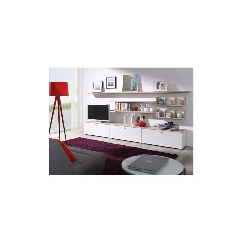 JUSThome Living III Wohnzimmerset Wohnzimmermöbel Wohnwand Sonoma Eiche / Weiß