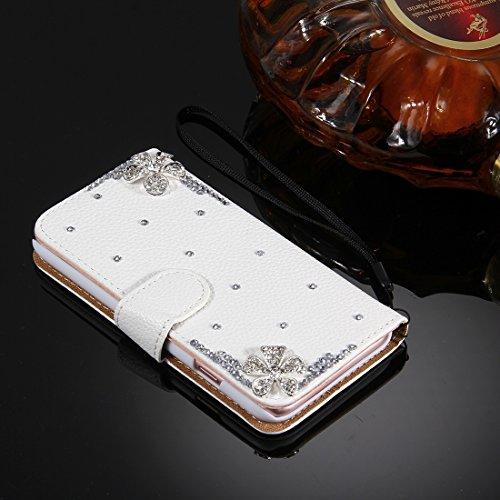 MXNET IPhone 7 Plus Case, Diamond verkrustete drei Schmetterlinge Pattern Horizontale Flip Leder Tasche mit magnetischen Wölbung & Card Slots & Handschlaufe CASE FÜR IPHONE 7 PLUS ( SKU : Ip7p4910q )