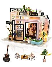 Cuteefun DIY Miniatuur Poppenhuis Kit om Handgemaakte Mini Kamer te Bouwen Met Muziek Stofdicht en Meubels voor Decoratie Creatieve Handwerk Cadeaus voor Vrouwen (Muziekstudio)