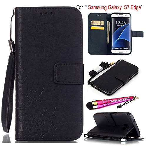 Galaxy S7 Edge - Case, MerKuyom [Wrist Strap] [Embossed Flower][Kickstand] Premium PU Leather Wallet Pouch [Card Holder] Protective Flip Cover Case For Samsung Galaxy S7 Edge, W/ Stylus (Black)
