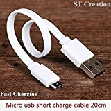 Short Micro USB Quick Charge Cable For Samsung, Mi, Lenovo, LG, HTC, Motorola, Micromax, Sony, Oppo, Vivo, & All other ( Micro) USB support Smart Phones- Specially For Power Bank [ Charging ONLY ]