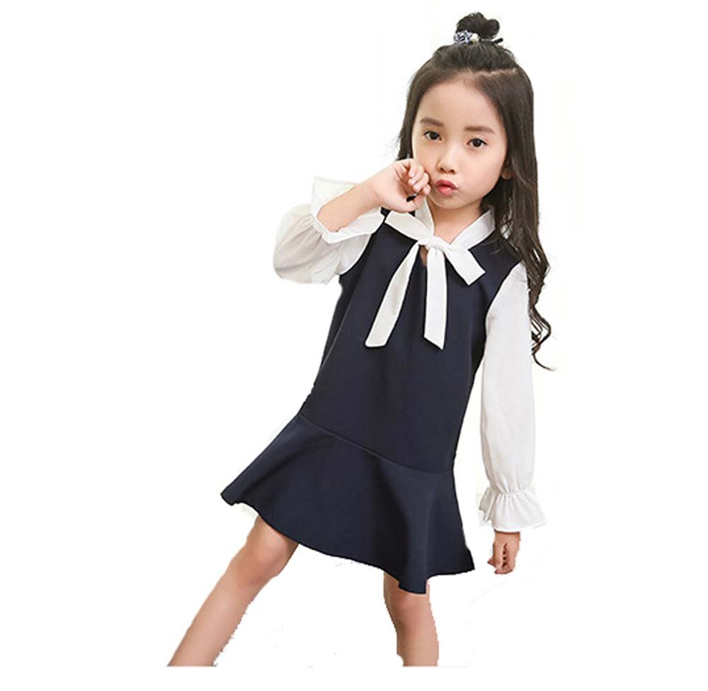 Big Girl Nautical Dress Long Sleeve Collar Sailor Dress with Bow-Tie for 4-12Year